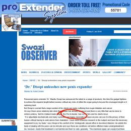 The Swazi Observer NEWS article on the ProExtender
